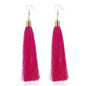 Jewelry - NEW boho hot pink tassel earrings